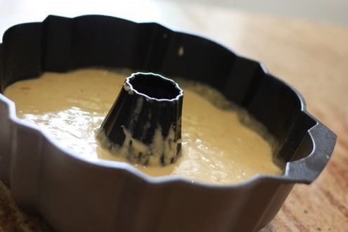 Banana Bread Batter in Bundt Pan