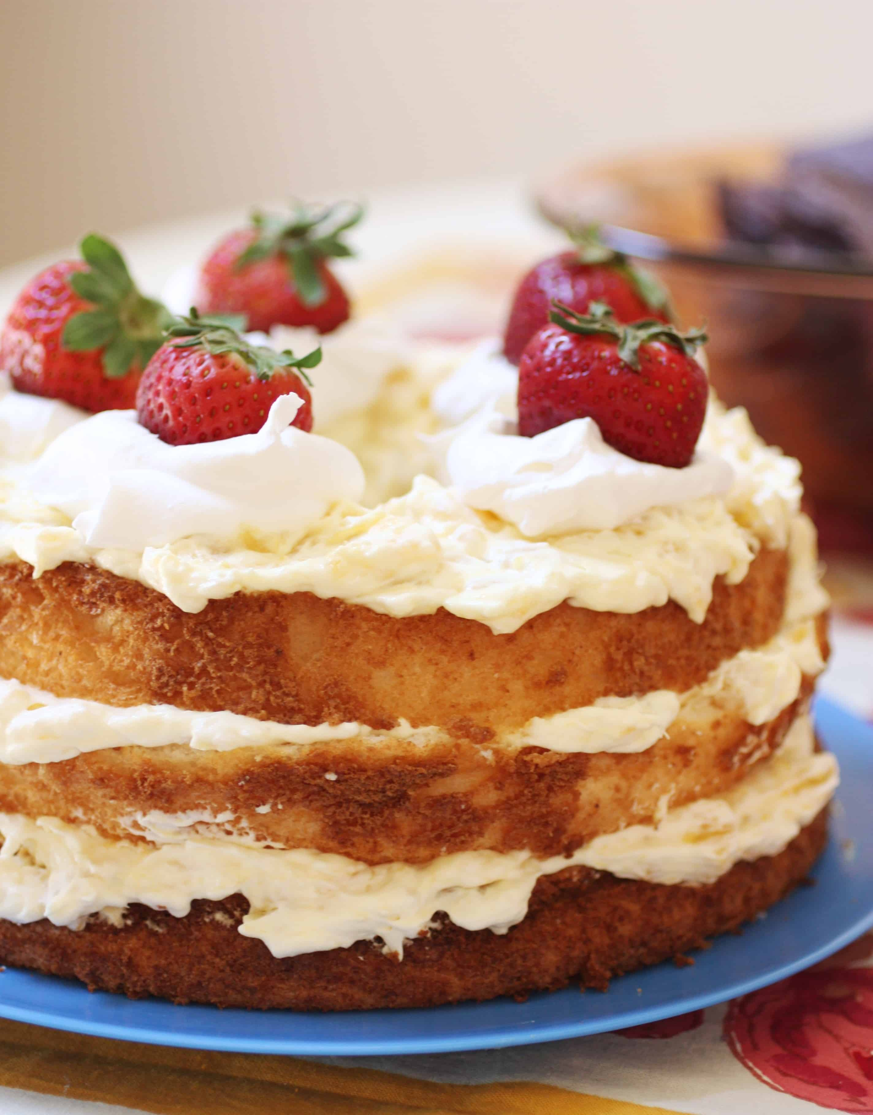 Angel Food Cake with Pineapple whipped cream