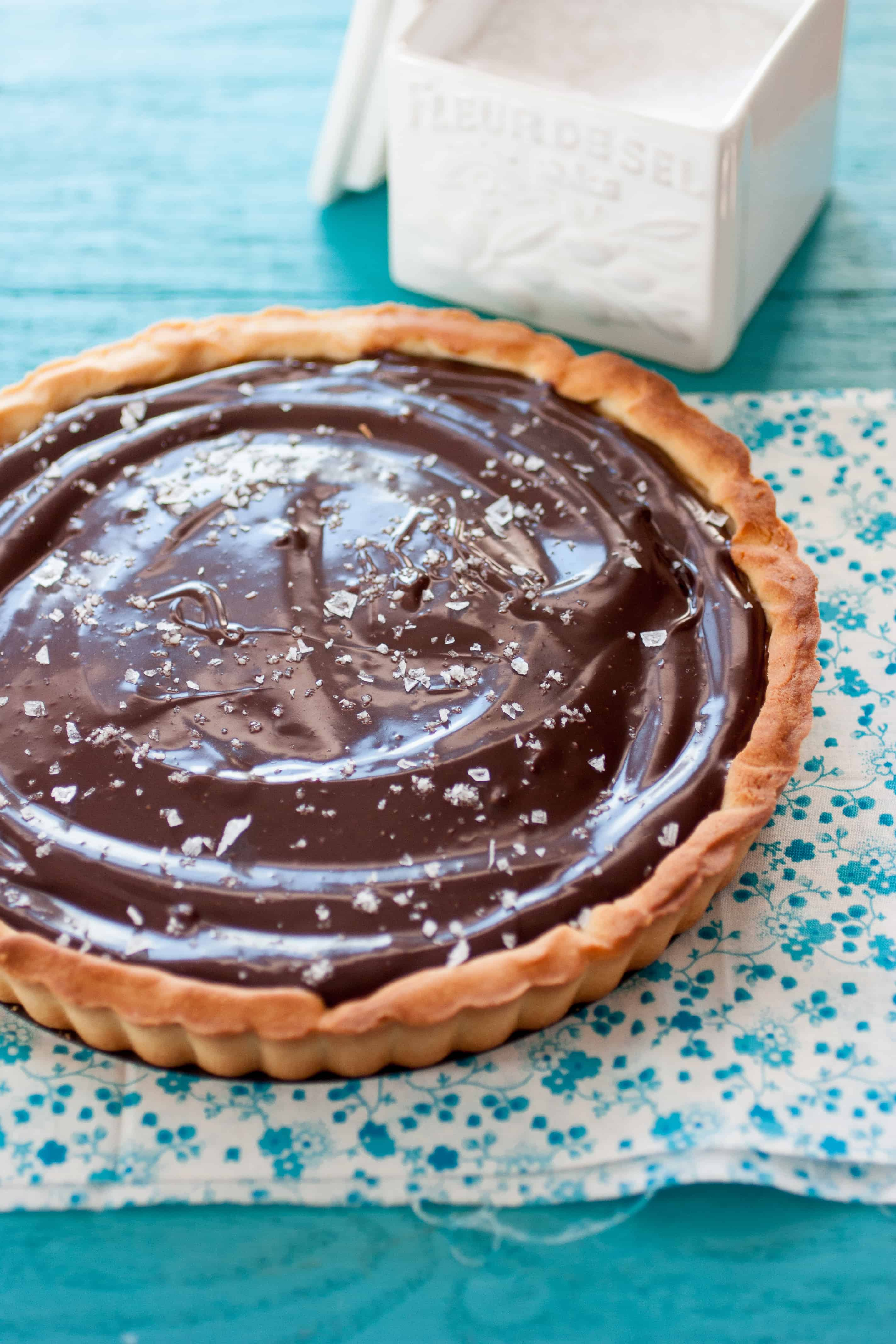 Salted Caramel and Chocolate Tart | ForTheFeast.com #dessert #chocolate