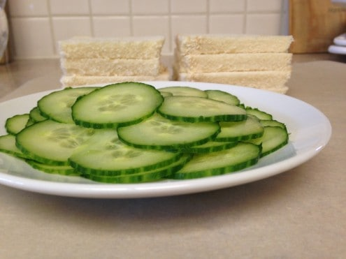 sliced cucumbers and bread