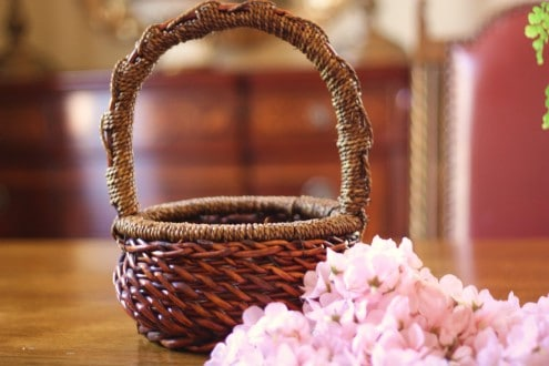 Basket Pink Flowers 1