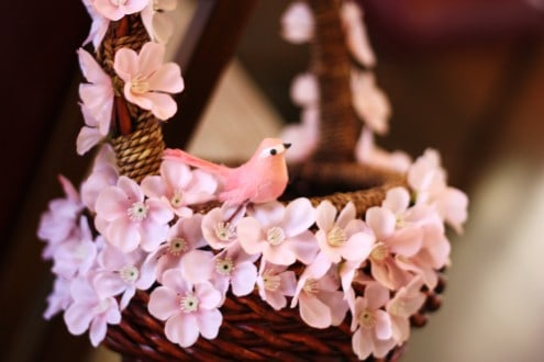 Pink Easter Basket Bird