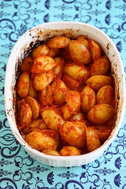 Baked Fingerling Potatoes with an Italian Arrabbiata Sauce