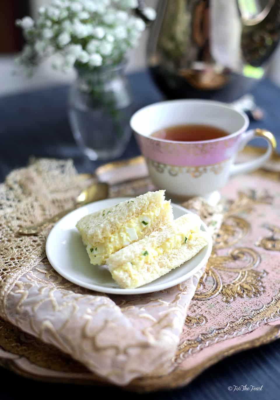 Egg Salad Finger Sandwiches | ForTheFeast.com #teatime