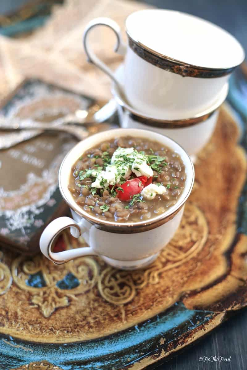 Lentil Soup with Goat Cheese | https://forthefeast.com #soup #recipe